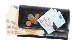 Economy and finance. Purse with euro banknote isolated Royalty Free Stock Photography