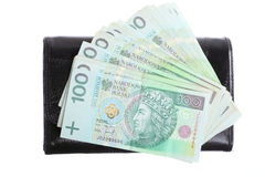 Economy and finance. Purse with polish banknote isolated Royalty Free Stock Photo