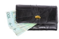 Economy and finance. Purse with polish banknote isolated Stock Images