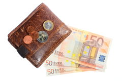 Economy and finance. Wallet with euro banknote isolated Royalty Free Stock Photo