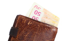 Economy and finance. Wallet with euro banknote isolated Stock Photography