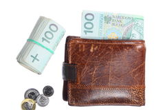 Economy and finance. Wallet with polish banknote isolated Stock Photo