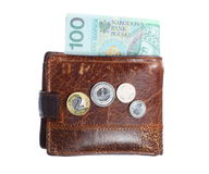 Economy and finance. Wallet with polish banknote isolated Royalty Free Stock Photo