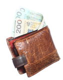 Economy and finance. Wallet with polish banknote isolated Stock Images