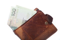 Economy and finance. Wallet with polish banknote isolated Royalty Free Stock Photography