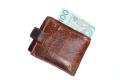 Economy and finance. Wallet with polish banknote isolated Royalty Free Stock Image
