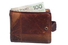 Economy and finance. Wallet with polish banknote isolated Stock Image
