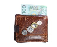 Economy and finance. Wallet with polish banknote isolated Royalty Free Stock Images