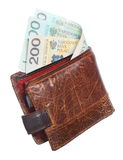 Economy and finance. Wallet with polish banknote isolated Royalty Free Stock Photos