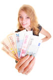Economy finance. Woman holds euro currency money. Stock Photo