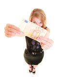 Economy finance. Woman holds euro currency money. Royalty Free Stock Photos
