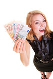 Economy finance. Woman holds euro currency money. Royalty Free Stock Images