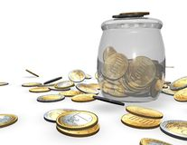 Economy and finances concept with jar of gold coins.. Royalty Free Stock Photo