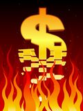 Economy in flames. A US dollar sign breaks apart in fire Royalty Free Stock Images