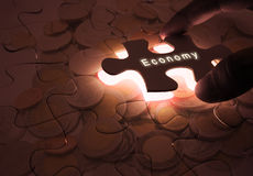 Economy Global Business with Puzzle Stock Images