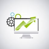 Economy growth desktop computer technology icon. Vector illustration design Royalty Free Stock Images