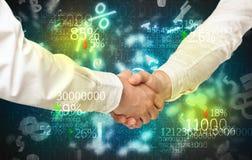 Economy handshake on financial background Royalty Free Stock Photos