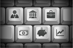 Economy Icons on Computer Keyboard Buttons. 