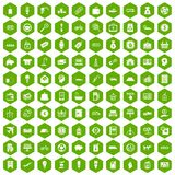 100 economy icons hexagon green. 100 economy icons set in green hexagon isolated vector illustration Stock Photography
