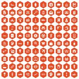 100 economy icons hexagon orange. 100 economy icons set in orange hexagon isolated vector illustration Royalty Free Stock Photography