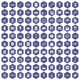 100 economy icons hexagon purple. 100 economy icons set in purple hexagon isolated vector illustration Royalty Free Stock Photography