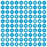 100 economy icons set blue. 100 economy icons set in blue hexagon isolated vector illustration Stock Photo