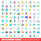 100 economy icons set, cartoon style. 100 economy icons set in cartoon style for any design vector illustration Stock Photo
