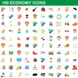 100 economy icons set, cartoon style Stock Photos