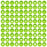 100 economy icons set green circle. Isolated on white background vector illustration Royalty Free Stock Photography