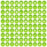 100 economy icons set green. 100 economy icons set in green circle isolated on white vectr illustration Stock Illustration