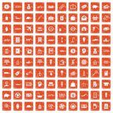 100 economy icons set grunge orange. 100 economy icons set in grunge style orange color isolated on white background vector illustration vector illustration