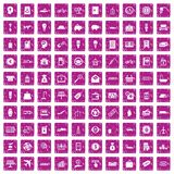 100 economy icons set grunge pink. 100 economy icons set in grunge style pink color isolated on white background vector illustration royalty free illustration