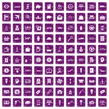 100 economy icons set grunge purple. 100 economy icons set in grunge style purple color isolated on white background vector illustration Stock Image