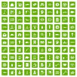 100 economy icons set grunge green Stock Photography