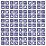 100 economy icons set grunge sapphire. 100 economy icons set in grunge style sapphire color isolated on white background vector illustration Stock Photography