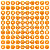 100 economy icons set orange. 100 economy icons set in orange circle isolated on white vector illustration Royalty Free Illustration