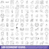100 economy icons set, outline style. 100 economy icons set in outline style for any design vector illustration Royalty Free Illustration