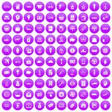 100 economy icons set purple. 100 economy icons set in purple circle isolated on white vector illustration royalty free illustration