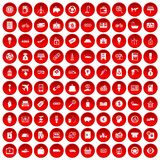 100 economy icons set red. 100 economy icons set in red circle isolated on white vector illustration Stock Illustration