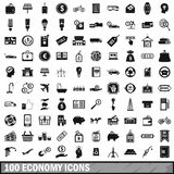 100 economy icons set, simple style. 100 economy icons set in simple style for any design vector illustration Royalty Free Stock Photos