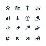 Economy icons set. On white background Royalty Free Stock Photo