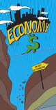 Economy illustration. An illustration of the economy walking on a tightrope Stock Photos