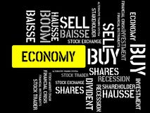 ECONOMY - image with words associated with the topic STOCK EXCHANGE, word cloud, cube, letter, image, illustration Royalty Free Stock Photos