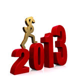 Economy Improves in 2013. A gold dollar sign climbing red steps forming the year, 2013. On white with drop shadow Royalty Free Stock Photos