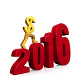 Economy Improves in 2016. A gold dollar sign climbing red steps forming from the year, 2016. On white with drop shadow Stock Photo