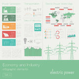 Economy and industry. Electric power. Electricity. Industrial in. Fographic template. Vector illustration Stock Photos