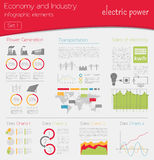 Economy and industry. Electric power. Industrial infographic tem Royalty Free Stock Image