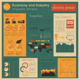 Economy and industry. Electric power. Industrial infographic tem Stock Images