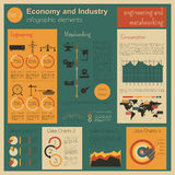 Economy and industry. Engineering and metalworking. Industrial i. Nfographic template. Vector illustration Stock Photography