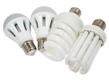 Economy lamps. And led lamp  isolated on white background Royalty Free Stock Image